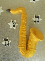 Saxophone Birthday Edible Cake Topper, Music Notes Name & Number